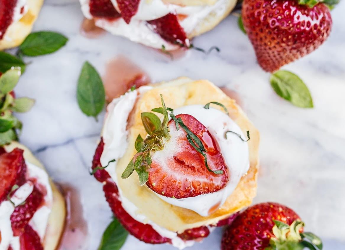 A piece of strawberry shortcake