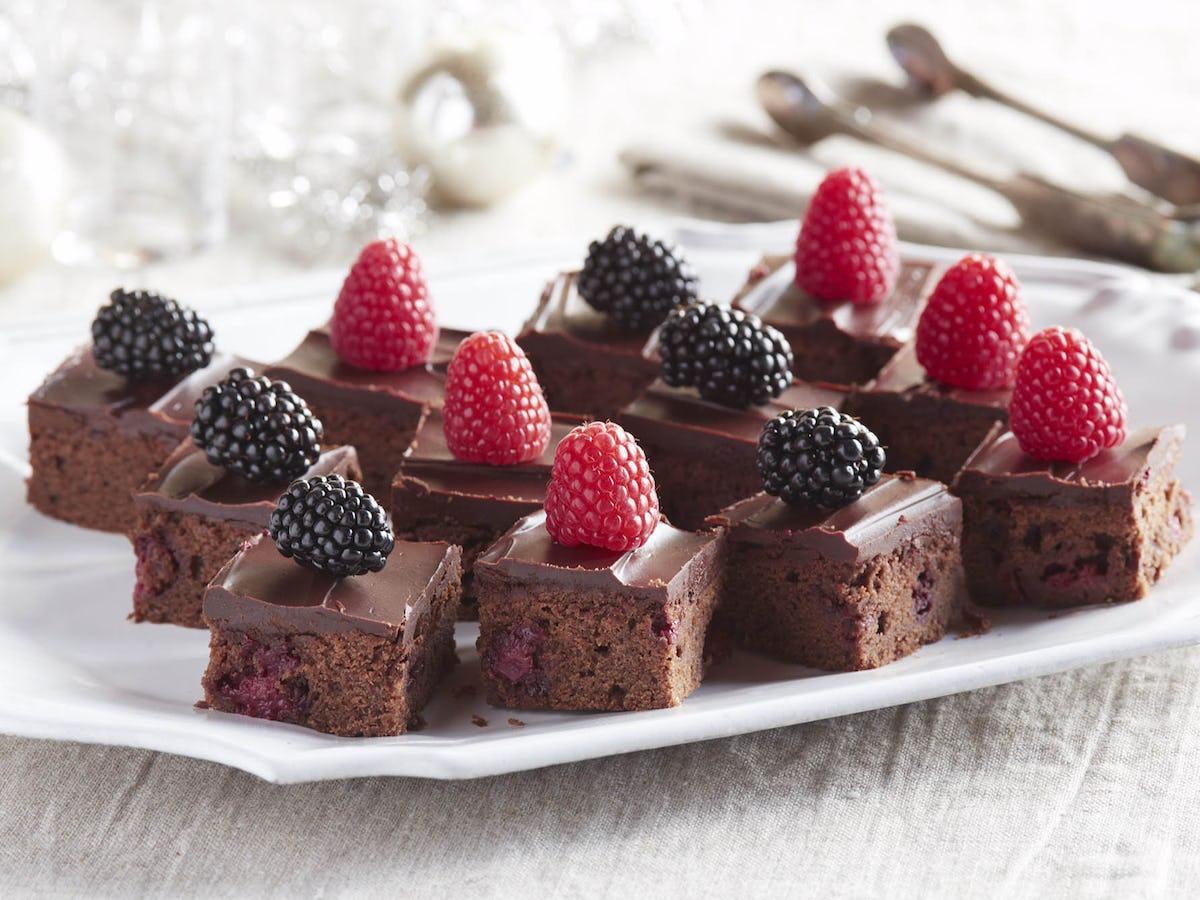 berry brownies with brandy ganache