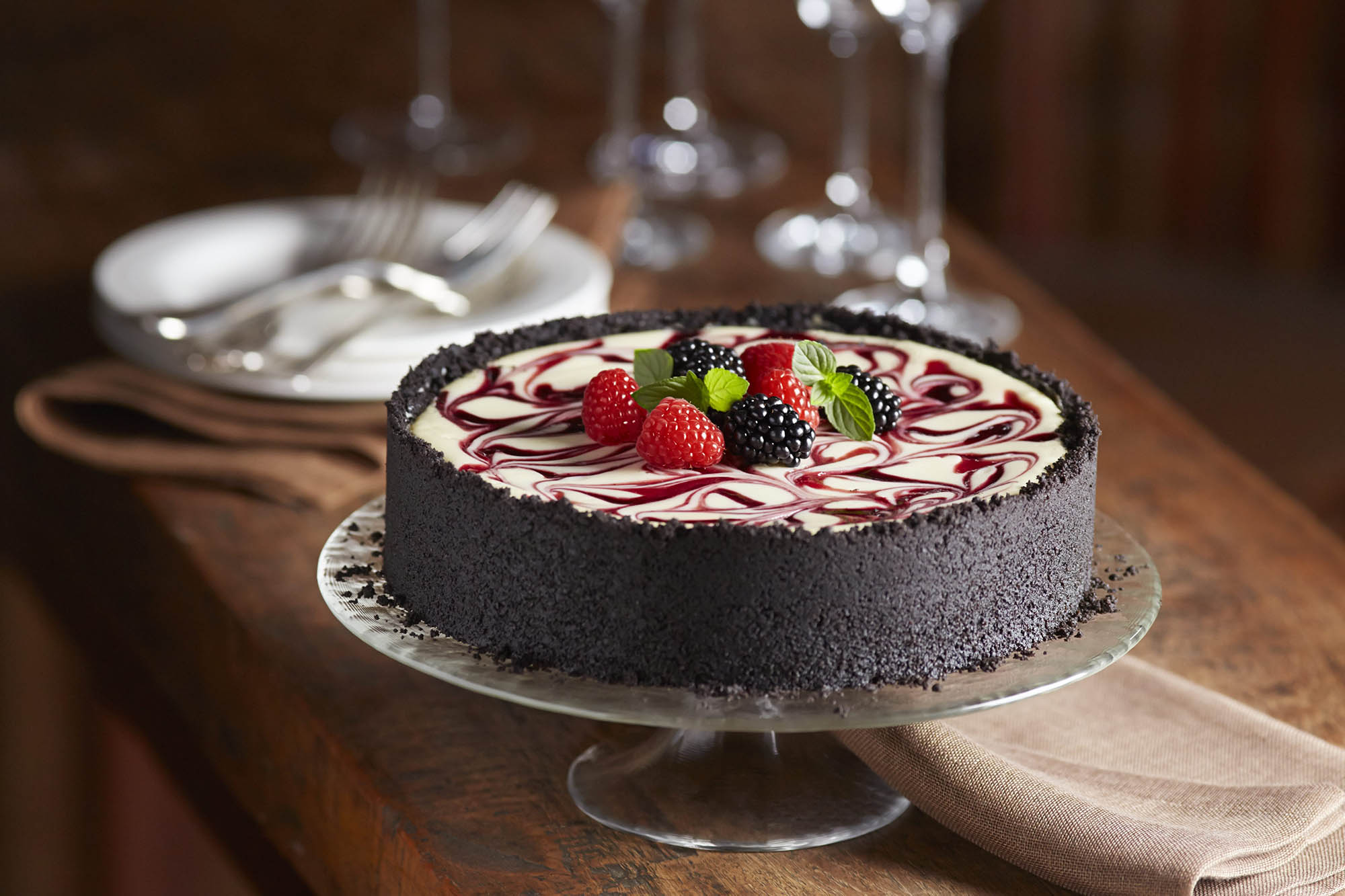 Blackberry and Raspberry Swirl Cheesecake