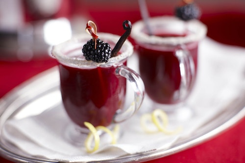 Two glasses of blackberry hot toddy