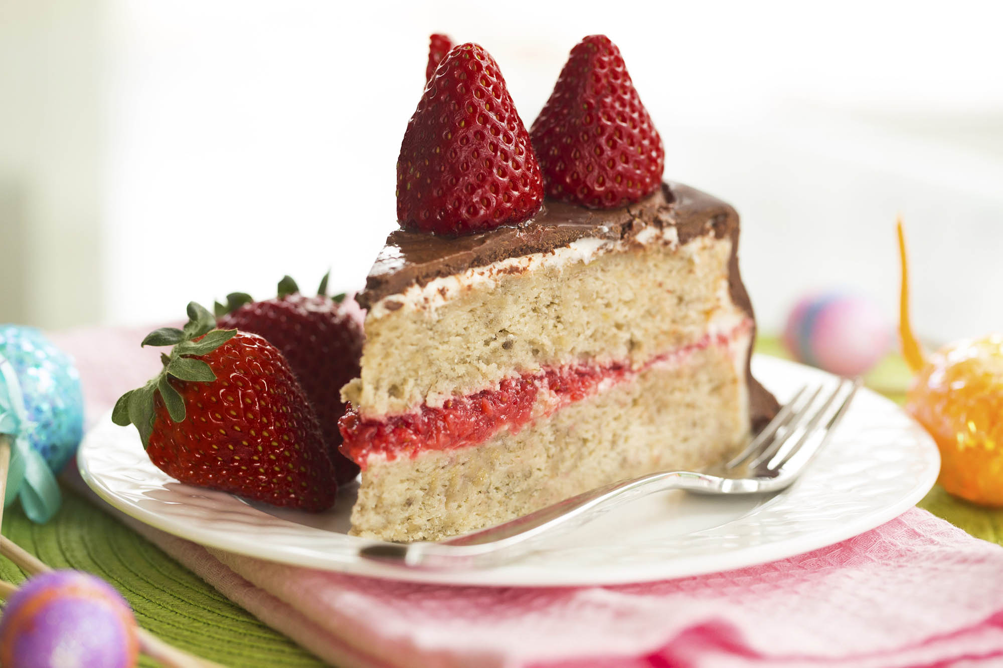 Chocolate Covered Banana Cake With Strawberries And Cream Cheese Frosting