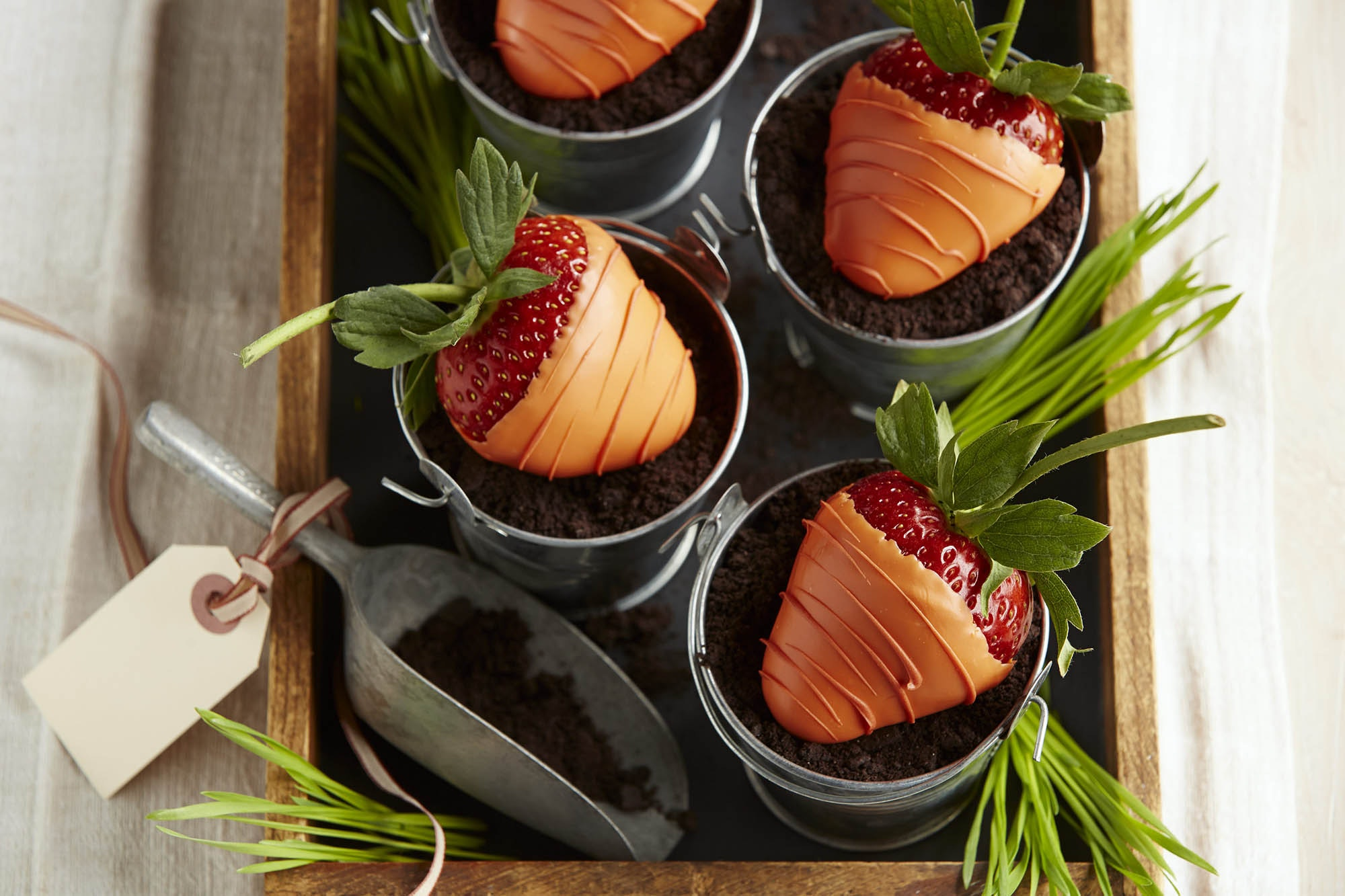 Chocolate covered strawberries decorated to look like carrots in pots of dirt