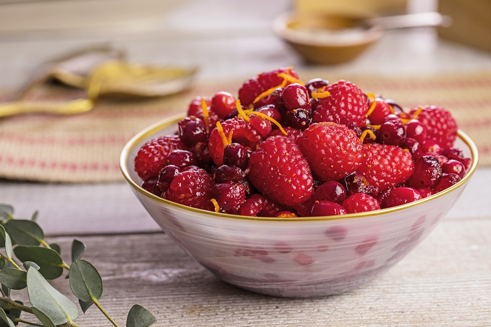 A bowl of cranberry and raspberry sauce