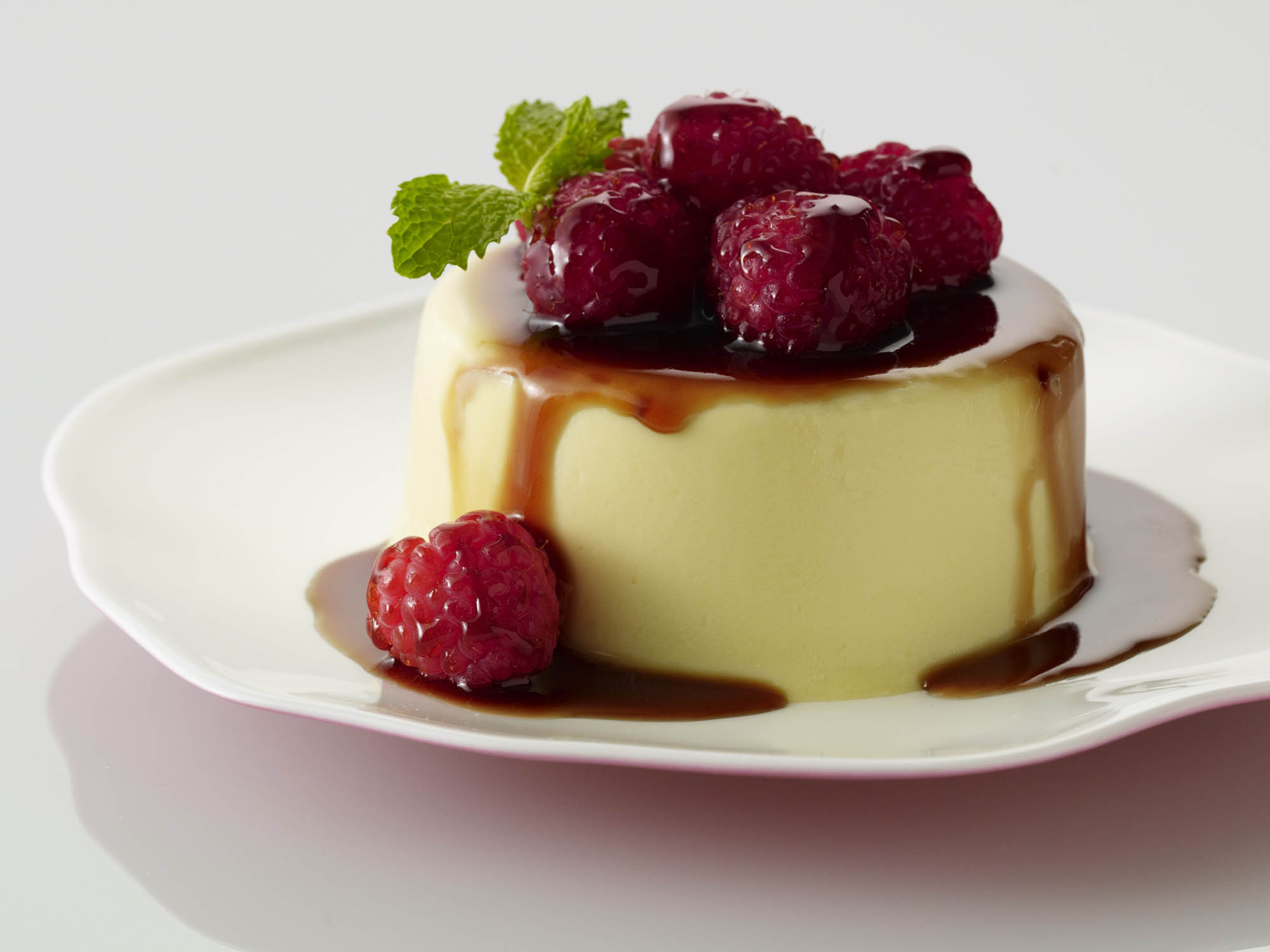 eggnog panna cotta with balsamic raspberries driscoll 39 s. Black Bedroom Furniture Sets. Home Design Ideas