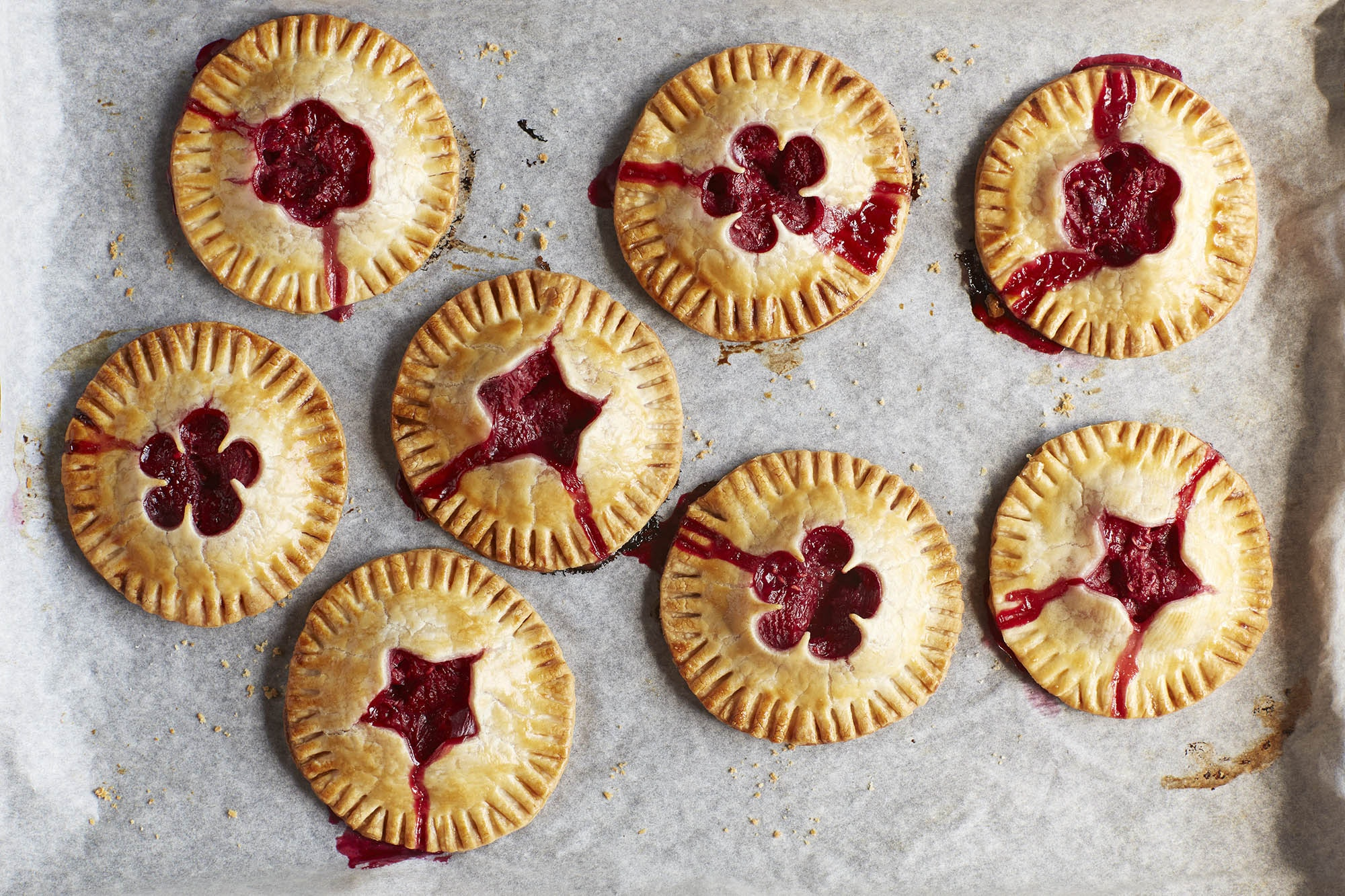 Raspberry hand pies with with shape cutouts