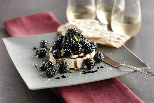 Mascarpone dip with basil blackberries