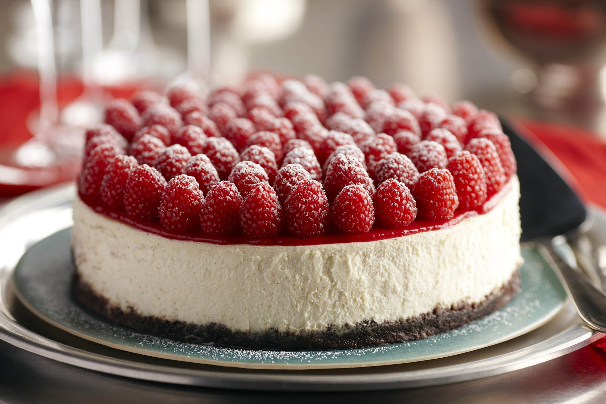 raspberry cheesecake with grand marnier and topped with raspberries