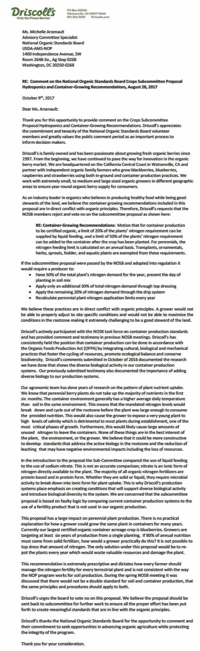Driscoll's Fall 2017 NOSB Letter