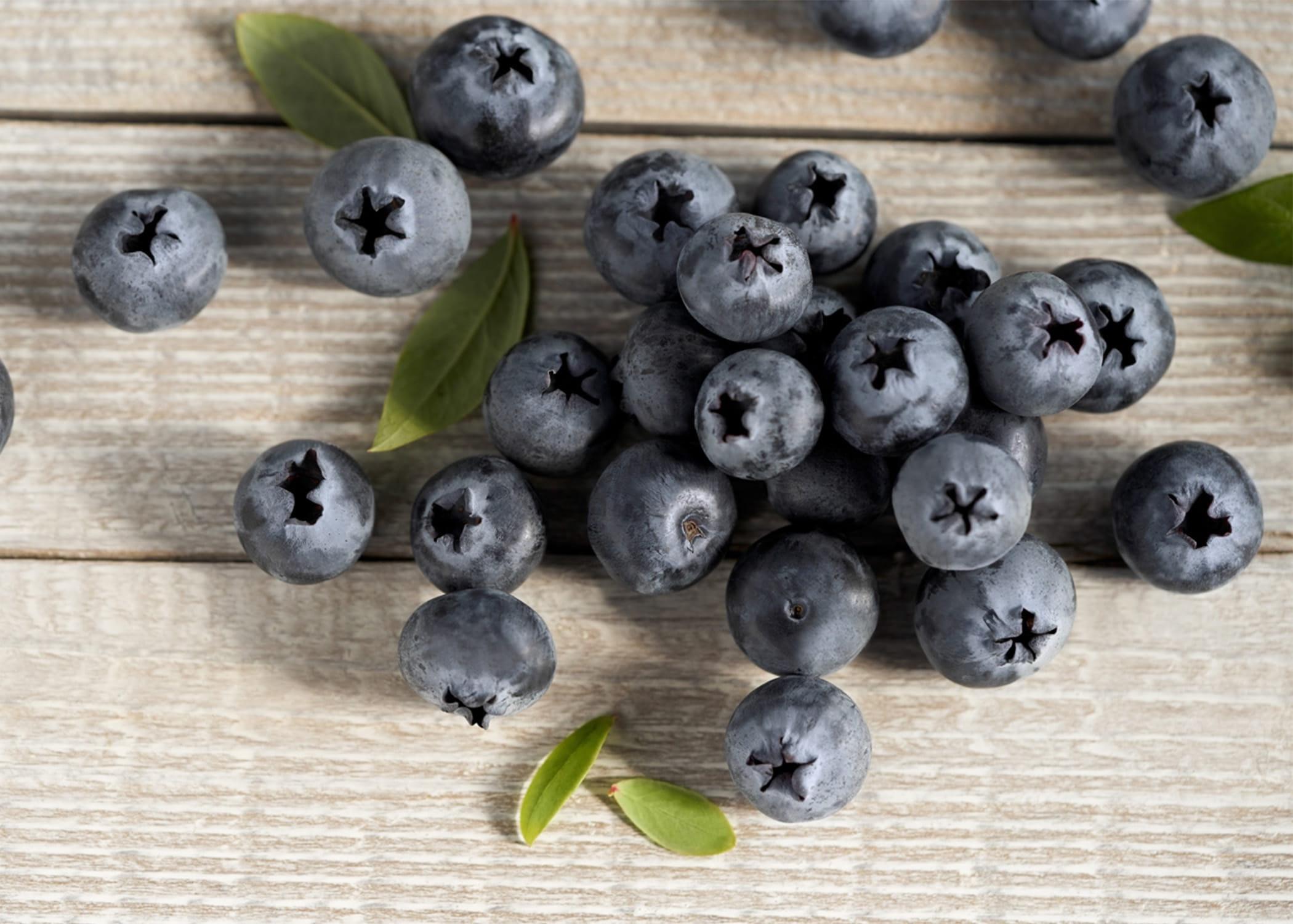 blueberries on wood