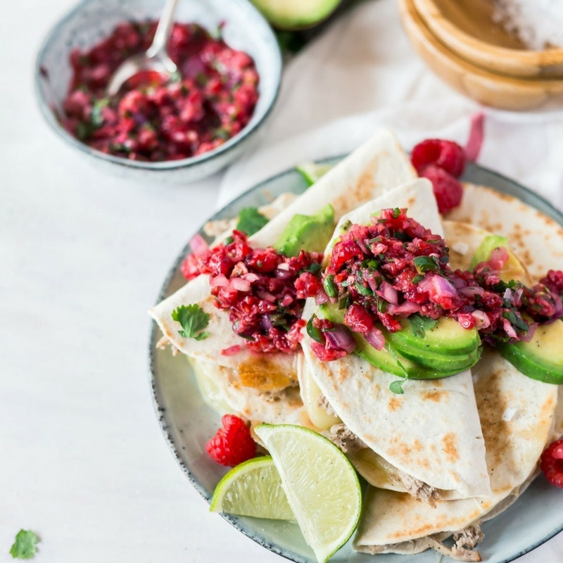Pulled pork quesadilla tacos with spicy raspberry salsa