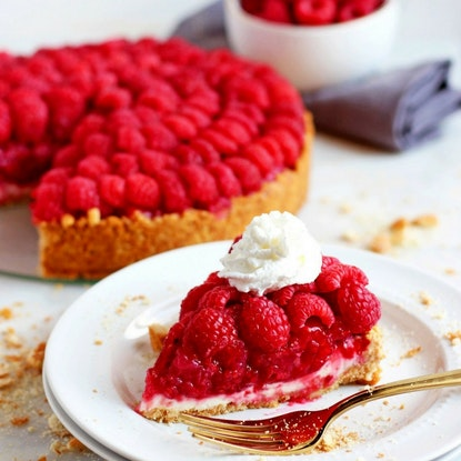 Pie with raspberries on top